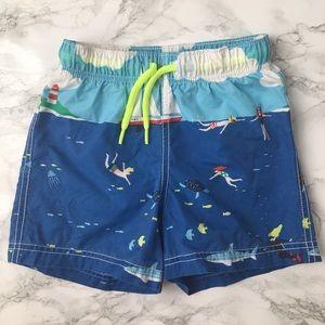 Mini Boden beach scene boys bathing trunks 2Y-3Y